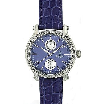 Royal London Ladies CZ Set moldura data 24 horas PurpleLeather pulseira Watch 21135-03