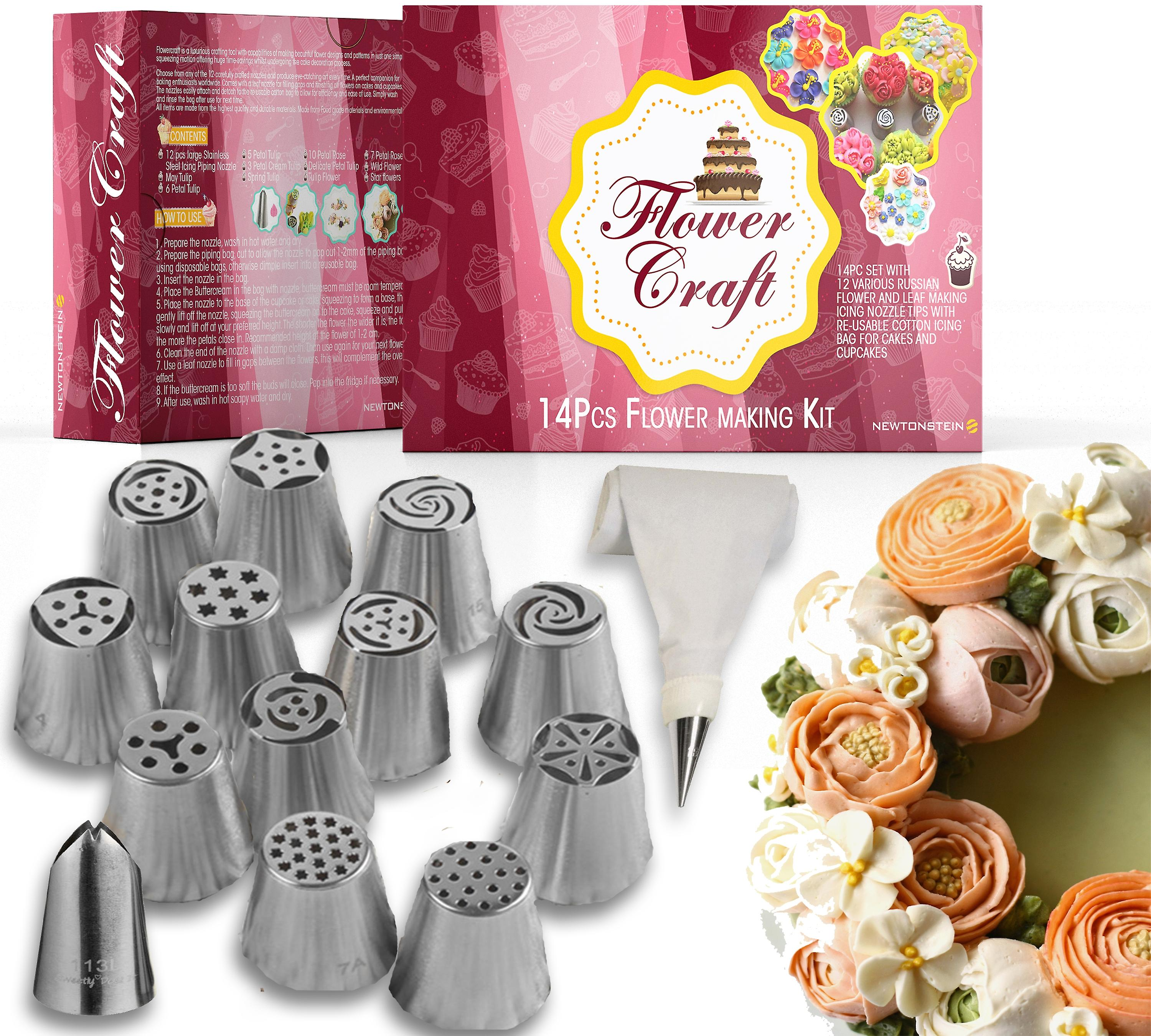 FlowerCraft - 17pc Set with 12 Various Russian Flower and Leaf Making Icing Nozzle Tips with 2 X Re-usable Cotton Icing Bags for Cakes and Cupcakes