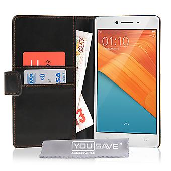 Yousave Accessories Oppo R7 LeatherEffect Wallet Case Black