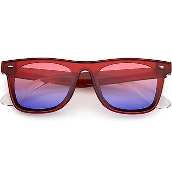 Moderne horn rimmed firkantet solbriller brede arme skjold linse 57mm