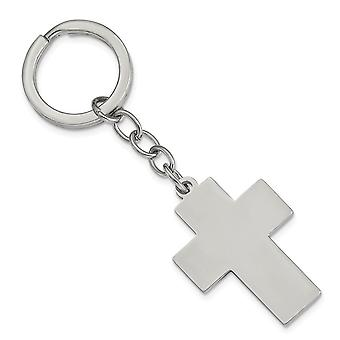 Stainless Steel Polished Cross Key Ring