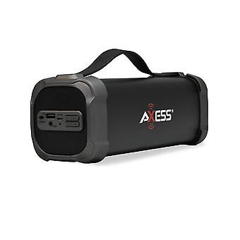 Axess Portable Bluetooth Media Speaker With 3.5mm Aux Jack and FM Radio - Black