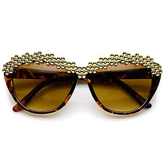 Womens Glam Fashion Rhinestone Studded Cat Eye Sunglasses