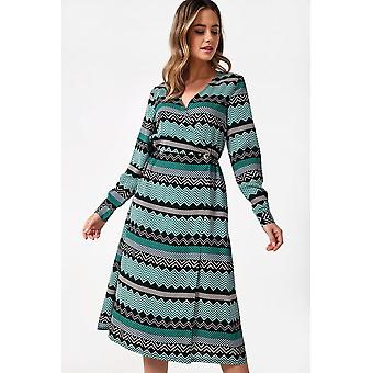 iClothing Jaya Printed Midi Dress In Green-16