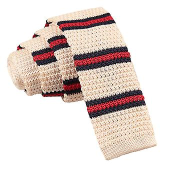 Men's Knitted Cream with Red & Navy Thin Stripe Tie
