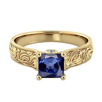 1.06 ctw Blue Sapphire Ring with Diamonds 14K Yellow Gold Filigree Cathedral Princess
