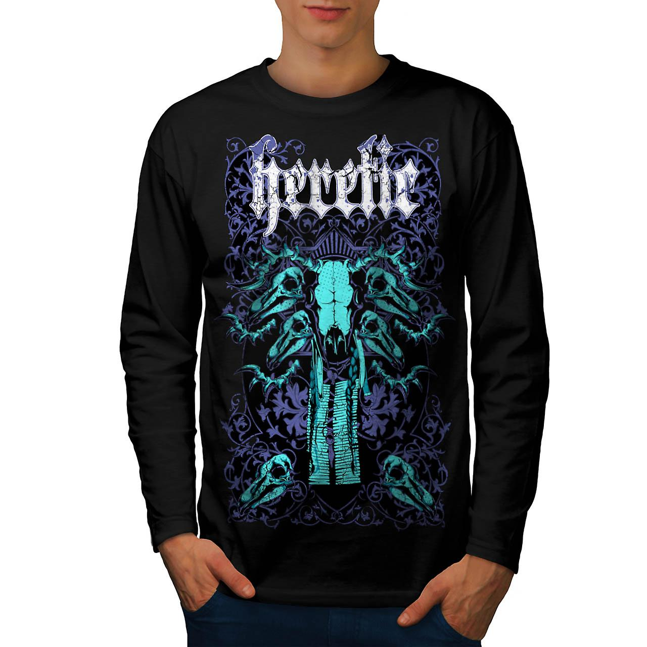 Heretic Monster Hell Giant Skull Men Black Long Sleeve T-shirt | Wellcoda