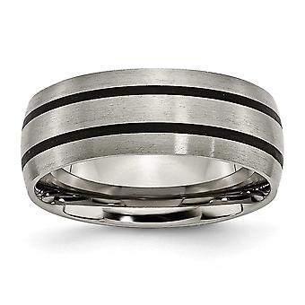 Titanium Engravable Enameled Grooved 8mm Satin Band Ring - Ring Size: 7 to 13