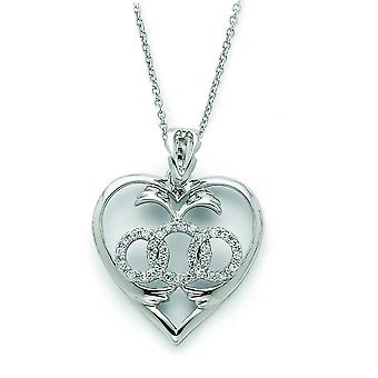 Sterling Silver CZ Labor of Love 18inch Necklace
