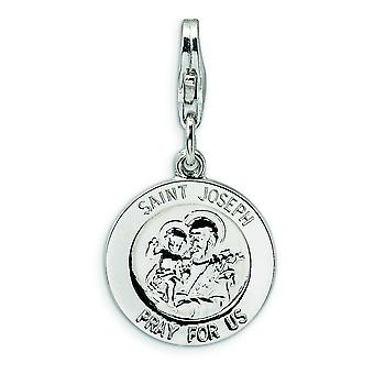 Sterling Silver Saint Joseph Medal With Lobster Clasp Charm - Measures 27x14mm