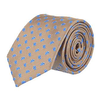 Pelo classic silk tie necktie silk Brown - Blue leaves 7 cm