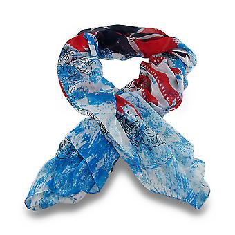Vintage Style UK Union Jack Flag and Skull Print Sheer Fashion Scarf 68 X 36 in.