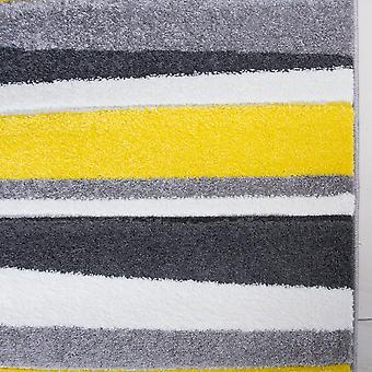 Modern Yellow & Grey Striped Hall Runner Rug - Rio