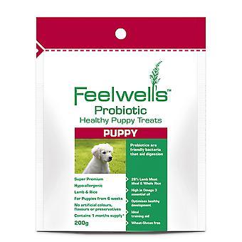 Feelwells probiotiske sund behandler Super Premium Puppy lam & ris 200g (pakke med 6)