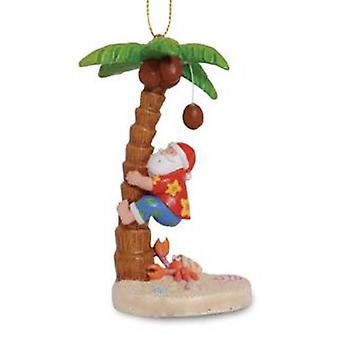 Beachy Santa Climbing Coconut Palm Tree Christmas Holiday Ornament