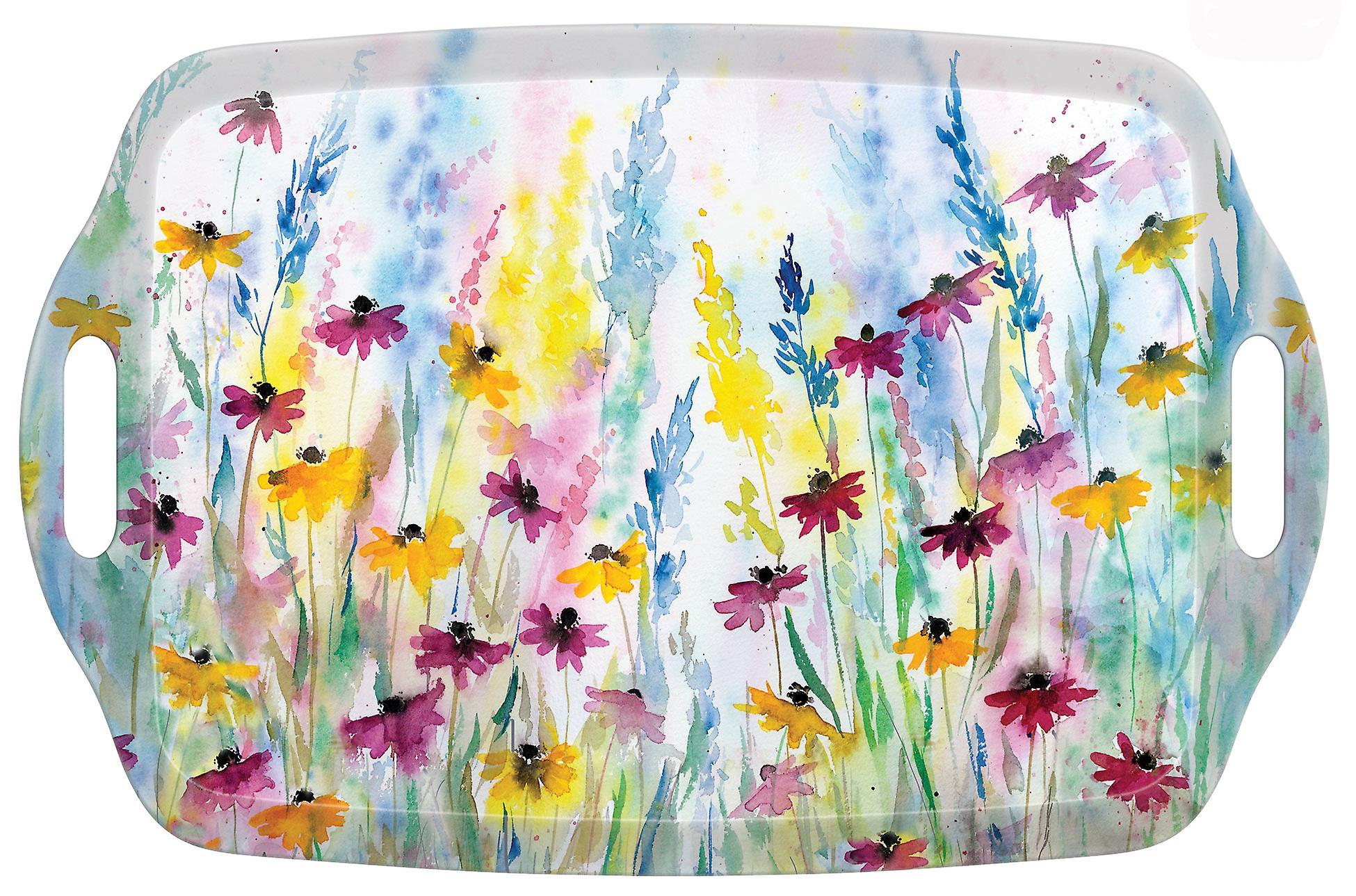 I Style Daisy Field Large Tea Tray with Handles, 48 x 31cm