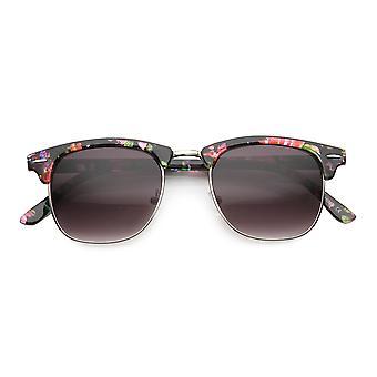 Women's Floral Pattern Square Half-Frame Horn Rimmed Sunglasses
