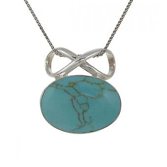 "Cavendish French Sterling Silver and Formed Turquoise Oval and Bow Pendant with 16 - 18"" Silver Chain"
