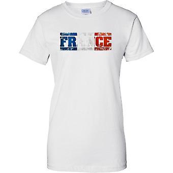 Efeito de França Grunge país nome bandeira - Tricolor - feminina T-Shirt