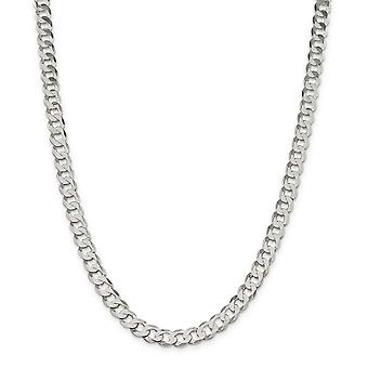 925 Sterling Silver Polished Lobster Claw Closure 8mm Close Link Flat Curb Chain Necklace - Length: 16 to 24