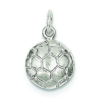 De retour en argent massif poli Open Soccerball charme -.9 grammes