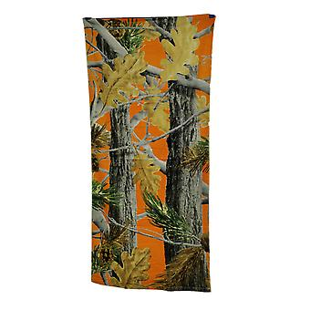 Blaze Orange Leaf Camouflage Cotton Beach Towel 28 X 58 Inches