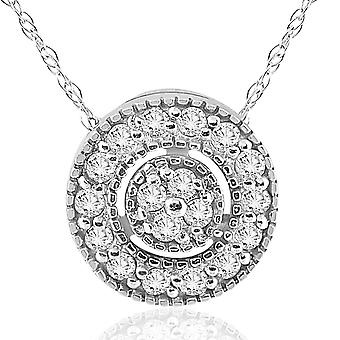 1/4ct Diamond Pave Halo Pendant 14K White Gold Womens Necklace & 18
