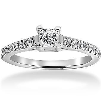 1 / 2ct Princess Cut Pave diamant förlovningsring 14K vitguld