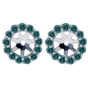 3/4ct Halo Blue Diamond Earring Jackets 14K White Gold Fits 4.5-6mm Round Stones