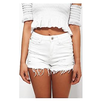 The Fashion Bible Darcy White Distressed Denim Shorts
