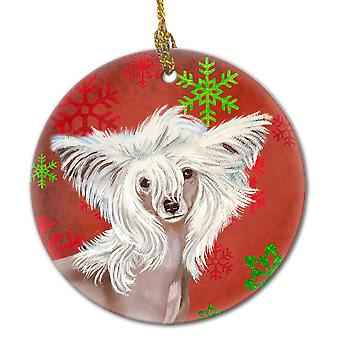 Chinese Crested Red Snowflake Holiday Christmas Ceramic Ornament LH9347