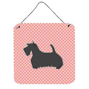 Scottish Terrier Checkerboard Pink Wall or Door Hanging Prints