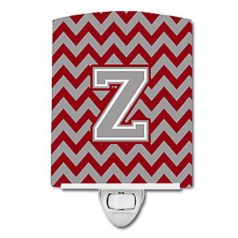 Letter Z Chevron Crimson and Grey   Ceramic Night Light