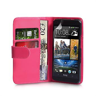 Yousave Accessories HTC One Mini Leather-Effect Wallet Case - Hot Pink