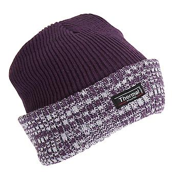 Womens/Ladies Thermal Two Tone Knit Hat