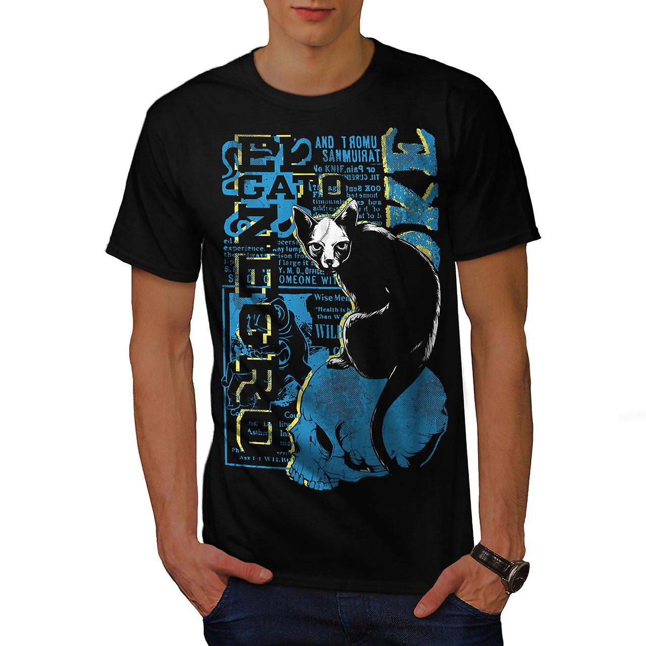 Gato Negro Creepy Cat Men Black T-shirt | Wellcoda