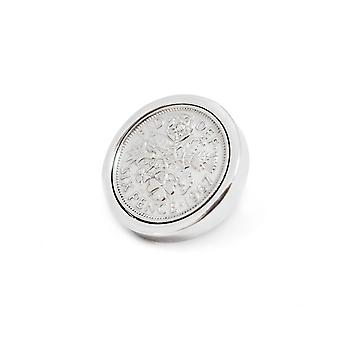 Genuine Polished 1964 Sixpence in Lapel Pin | 1964 anniversary, 54th birthday