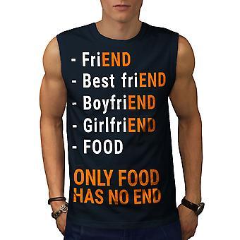 Alimento no tiene ninguna camiseta de NavySleeveless de los hombres final | Wellcoda