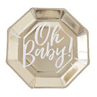 Guld folierede OH BABY! Baby Shower part papir kopper x 8