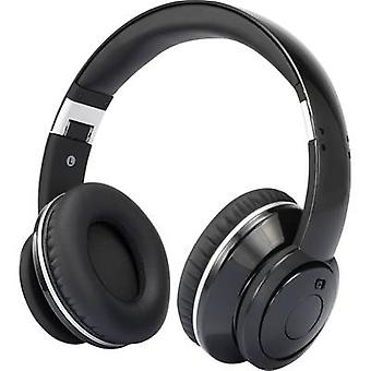 Renkforce HP02 Travel Headphones Over-the-ear Foldable, Headset, Noise cancelling Black