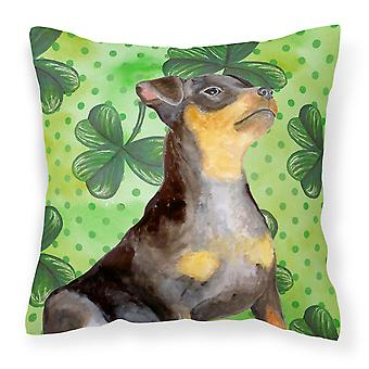 Miniature Pinscher #2 St Patrick's Fabric Decorative Pillow