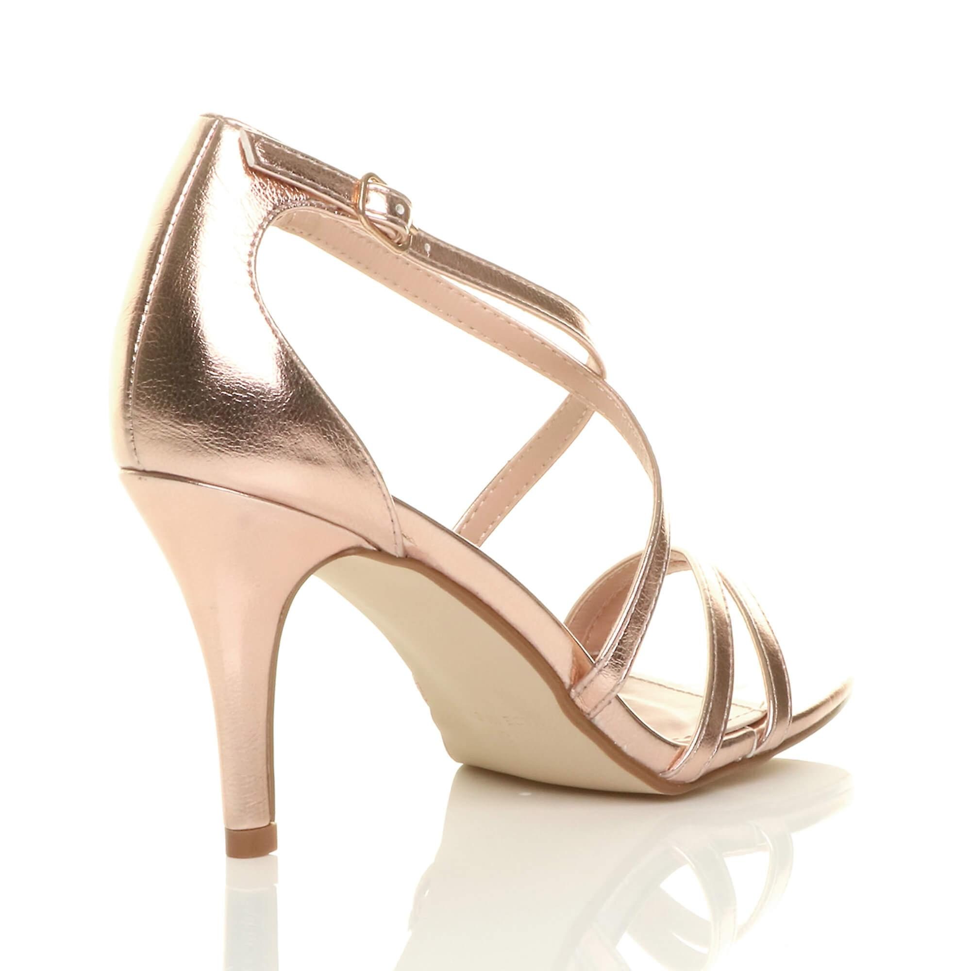 Ajvani womens mid mid mid low high heel strappy crossover party wedding prom sandals shoes 08bc03
