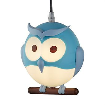 Blue Novelty Children's Owl Pendant - Searchlight 0113bl