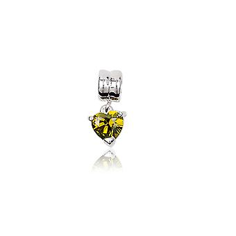Crystal yellow green heart Bead charms and Silver 925