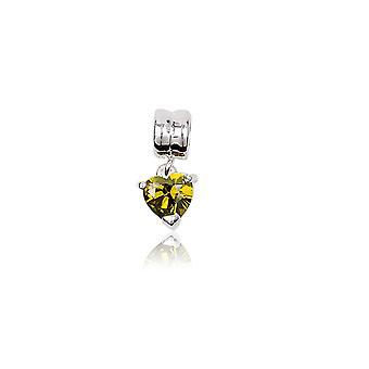 Кристалл желтый зеленый сердце борт прелести и серебро 925