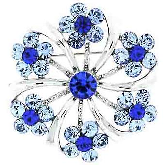 Brooches Store Silver and Sapphire Blue Swarovski Crystal Flower Brooch