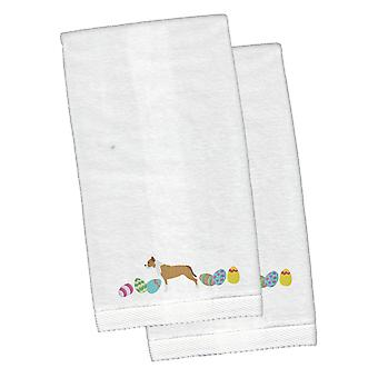 Staffordshire Bull Terrier Easter White Embroidered Plush Hand Towel Set of 2