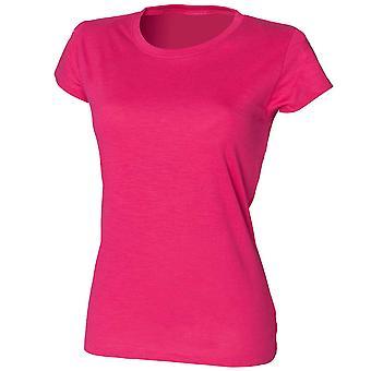 Skinni Fit Ladies Colours Slub Short Sleeve Cotton Crew Neck T-Shirt