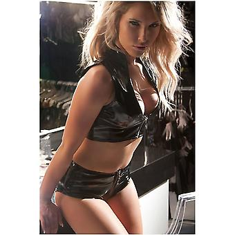 Allure Lingerie AL-15-8057B Vinyl Shorts With Piping