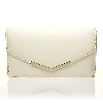 LUCKY Ivory Satin Medium Size Clutch Bag